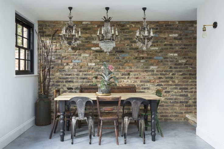 Kempe SW16 - dining table with exposed brick wall - london houses - shootfactory location