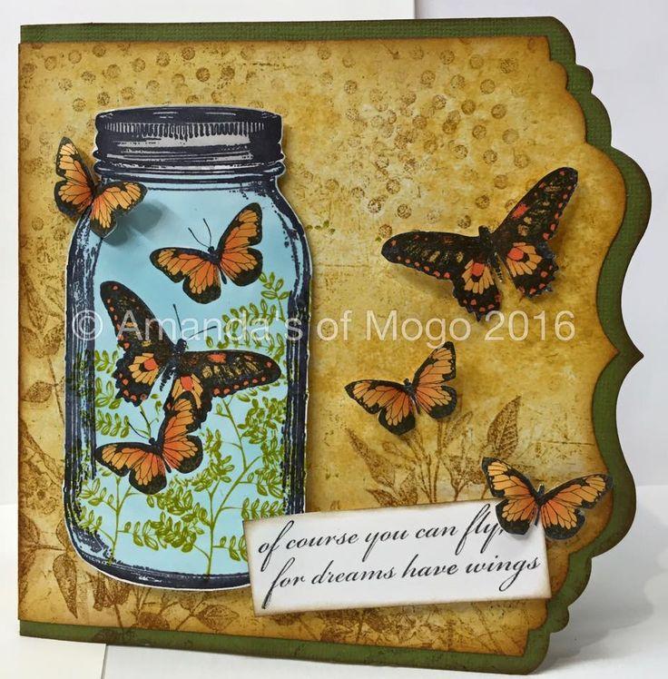 Mason Jar of Butterflies with die cut edge #amandasofmogo #mogo #handmade #cardmaking #masonjar #butterflies #darkroomdoor #kaisercraft #edgedie