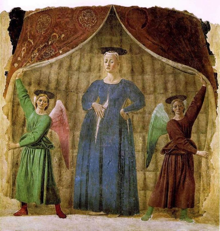 Piero della Francesca | Madonna del Parto, ca 1455, fresco, Museo della Madonna del Parto, Monterchi. The fresco was once located in Santa Maria di Momentana (once Santa Maria in Silvis), an old country church in the hilltown of Monterchi. The edifice was destroyed in 1785 by an earthquake and the work was detached and placed over the high altar of the new cemetery chapel and in 1992 it was moved to the Museo della Madonna del Parto in Monterchi.