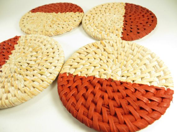 Hey, I found this really awesome Etsy listing at https://www.etsy.com/listing/186132520/hand-painted-rattan-coaster-set-of-4