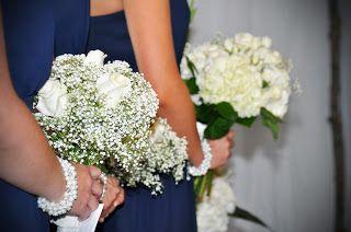 Baby's breath & rose bridesmaid bouquets