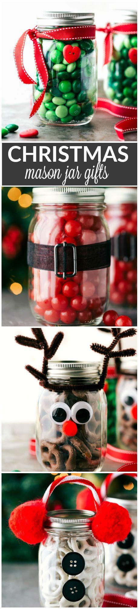Four easy and creative mason jar CHRISTMAS treat gift ideas. A grinch jar, santa jar, reindeer jar, and snowman jar! Via http://chelseasmessyapron.com