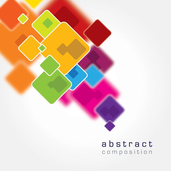 Vector shapes and varied colour scheme, bright intense colours, very creative and modern
