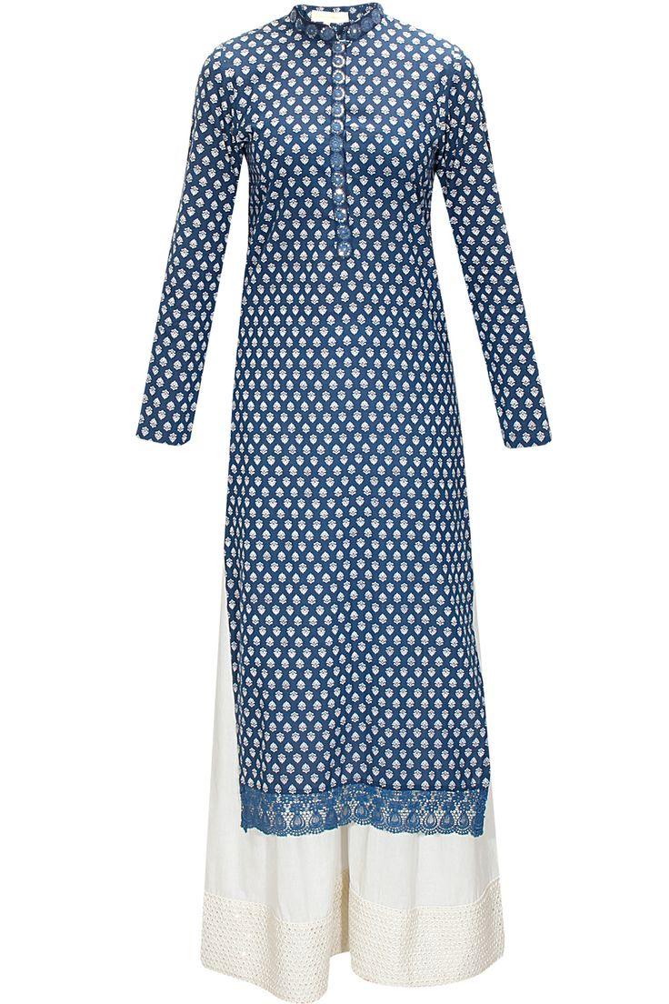 Blue embroidered kurta with white cotton pants by Vikram Phadnis. Shop now: www.perniaspopups.... #kurta #stylish #designer #vikramphadnis #chic #clothing #shopnow #perniaspopupshop #happyshopping