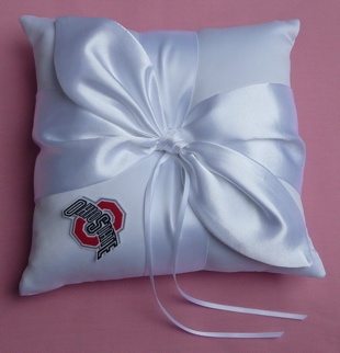 Wedding Ring Bearer Pillow - Ohio State St. University Buckeyes Themed OSU