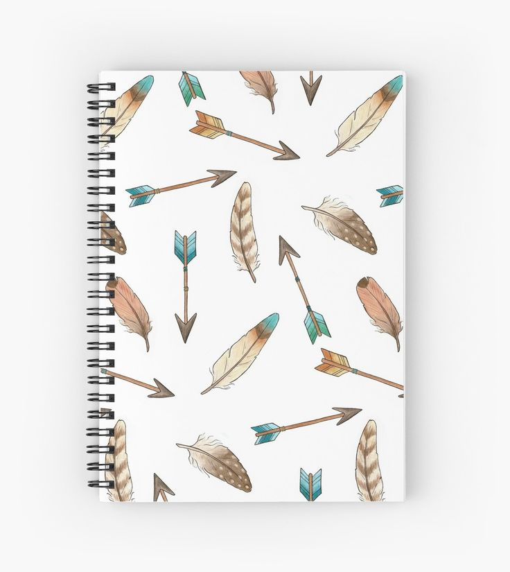 Feathers and Arrows Notebook.  A pattern of scattered feathers and arrows made from my pen drawings which were coloured with watercolours. Design by Hazel Fisher Creations • Also buy this artwork on stationery, apparel, phone cases, and more.