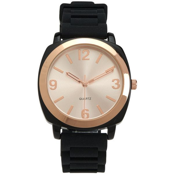 Aeropostale Solid Rubber Watch ($10) ❤ liked on Polyvore featuring jewelry, watches, black, aeropostale jewelry, leather-strap watches, polish jewelry, rubber watches and aeropostale watches