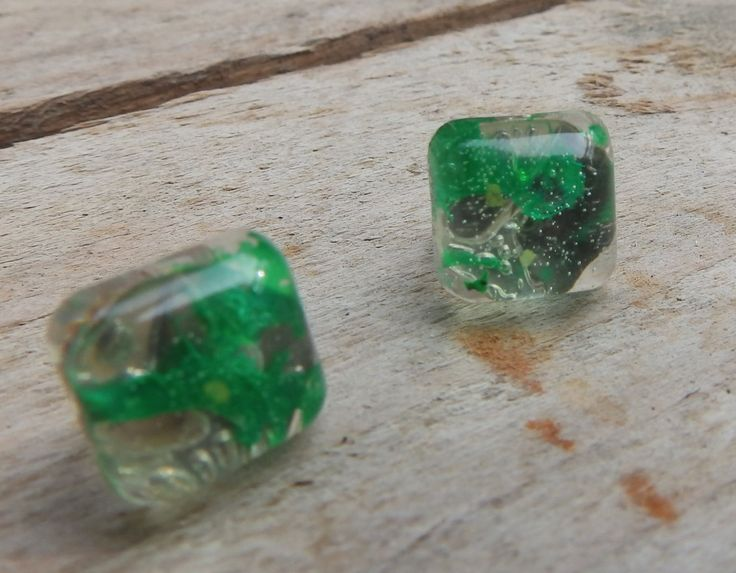 Resin earrings  with green color, Gem stone by Handmademyth on Etsy