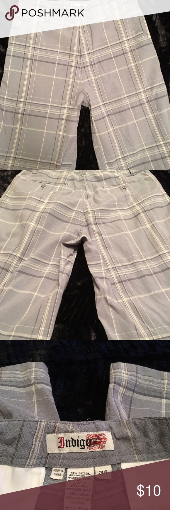 Men's Plaid Shorts, Size 34 Men's plaid shirts, size 34, in good condition Indigo Shorts