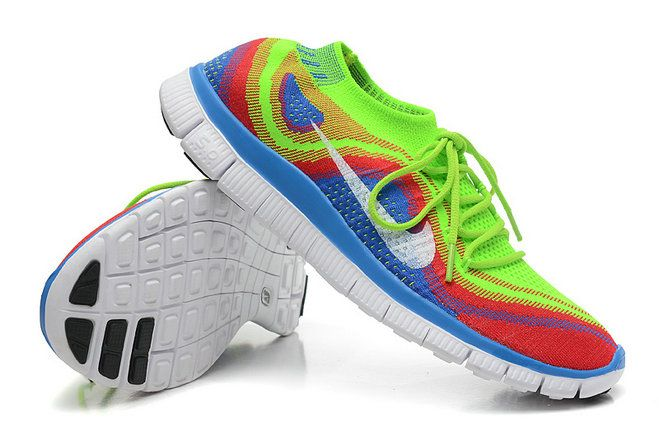 low priced 232ae 01cf1 Womens New Nike Free Flyknit+ 5 Electric Green White Crimson Volt Rainbow