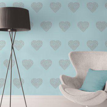 I Love Wallpaper™ Shimmer Hearts Wallpaper Teal / Silver (ILW980041) - I Love Wallpaper™ from I love wallpaper UK