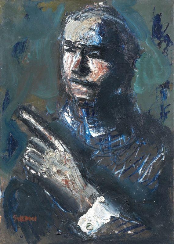 Mario Sironi (Italian, 1885-1961), PERSONAGGIO, 1943. Oil on canvas, 50 x 70 cm