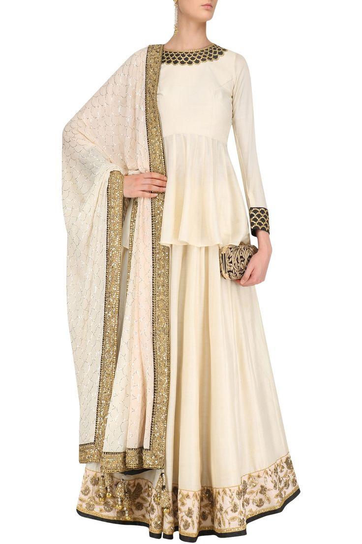 FAABIIANA Ivory Embroidered Peplum Top and Lehenga Skirt Set. #FAABIIANA #perniaspopupshop #happyshopping #shopnow #peplum #lehenga #embroidery#traditional #indiandesigner #ethnic #festive