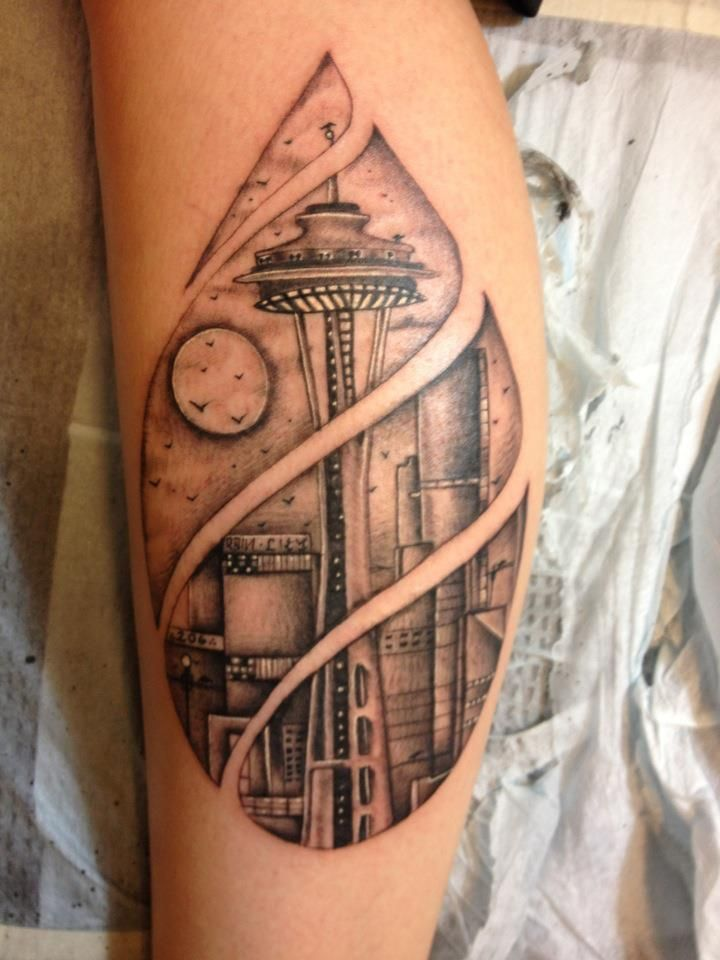 Eddie Martinez, Super Genius Tattoo, Seattle WA, black and grey tattoo, Space Needle tattoo, Seattle skyline tattoo
