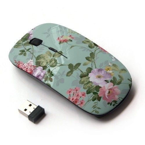 Floral Wireless Cordless Mouse Vintage Laptop USB Retro Computer Accessories   | eBay