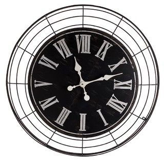 Iron Clock - Black - 89x13x89cm - Iron - Stoneleigh