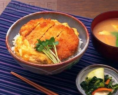 Katsudon, fried chicken served with  white rice
