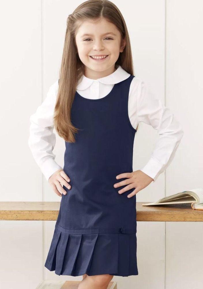 Girl Kids Stretchy Pleated Hem Durable School Uniform Jumper Dress Skirt Casual