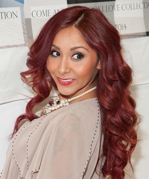 Nicole Snooki Polizzi Hairstyle - Long Wavy Formal - Medium Red