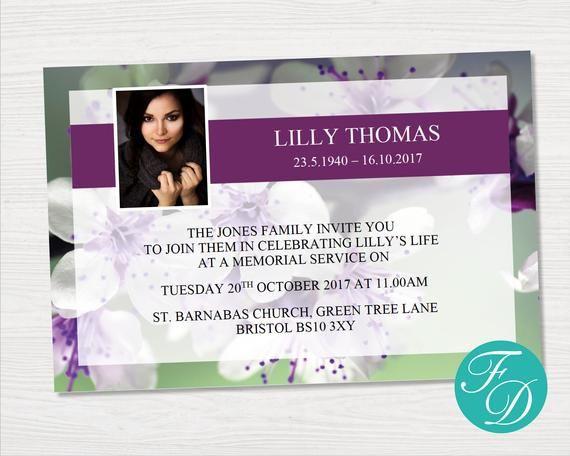 Funeral Invitation Card Purple