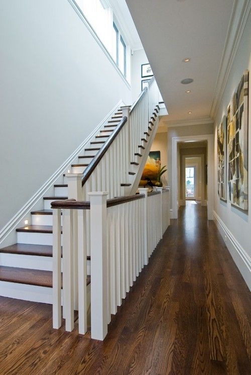 Painted Risers Wood Treads Staircase Amp Railings