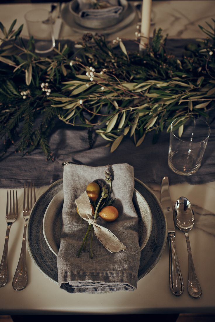 This tablescape would be perfect inspiration for an autumn wedding. A Guide to Chic Holiday Entertaining With EyeSwoon's Athena Calderone - Gallery - http://Style.com Speck + Stone dinnerware