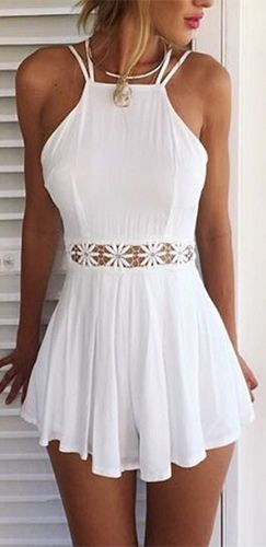White Spaghetti Strap Halter Open Back Cut Out Lace Waist Pleated Short Romper