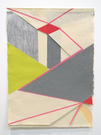 Lisa Hamilton, untitled (layered drawing 3) br/2010 br/oil stick on cut paper over oil stick on paper br/24 x 18 br/br/  br/
