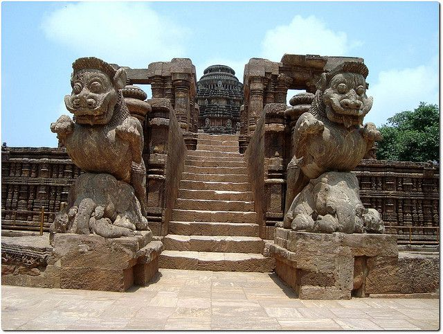 Konark Sun Temple is a 13th century Sun Temple (also known as the Black Pagoda)[1], at Konark, in Orissa. It was constructed from oxidized and weathered ferruginous sandstone by King Narasimhadeva I (1238-1250 CE) of the Eastern Ganga Dynasty. The temple is an example of Orissan architecture of Ganga dynasty . The temple is one of the most renowned temples in India and is a World Heritage Site.