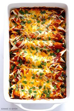 Best Chicken Enchiladas EVER and homemade red enchilada sauce!  | Gimme Some Oven
