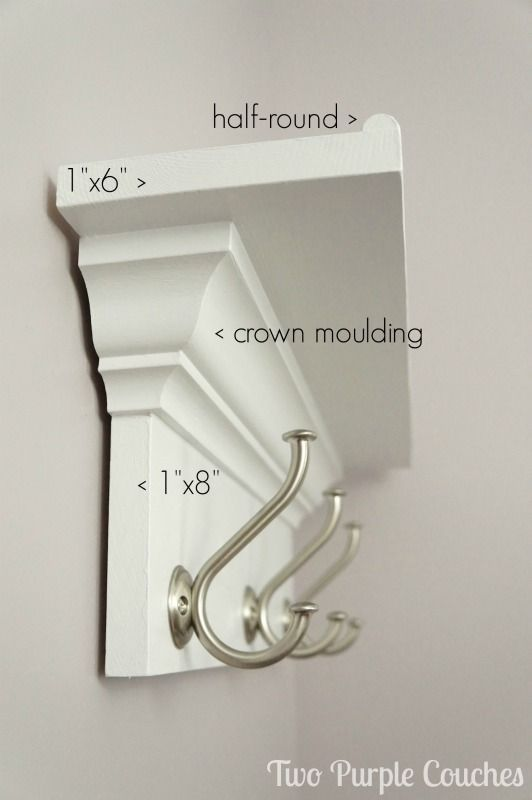 Make your own wall shelf for bedroom, bathroom, kitchen or entryway! DIY shelf with hooks via www.twopurplecouches.com