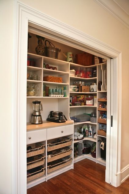 Organized pantry.  Everything is easy to see and very accessible.