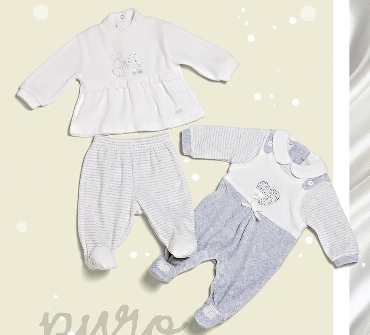 Per il neonato in culla tutine intere o spezzate in colori neutri. #FW12 #Monellopoli