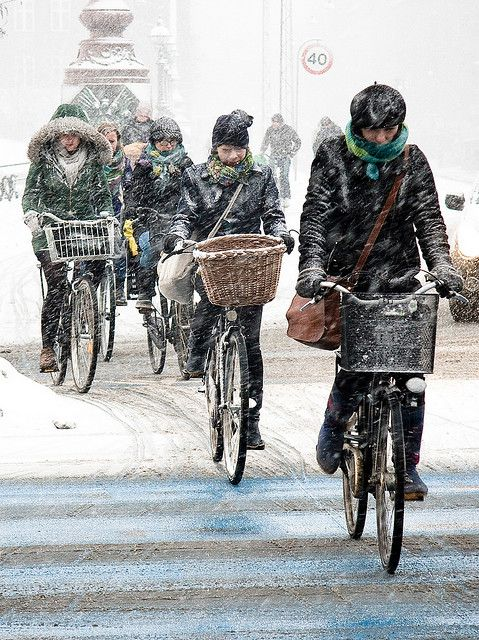 Bicycling is the easiest way to get around #Copenhagen.Danes are out cycling all year round, also when the winter falls. Photo// by Mikael Colville-Andersen
