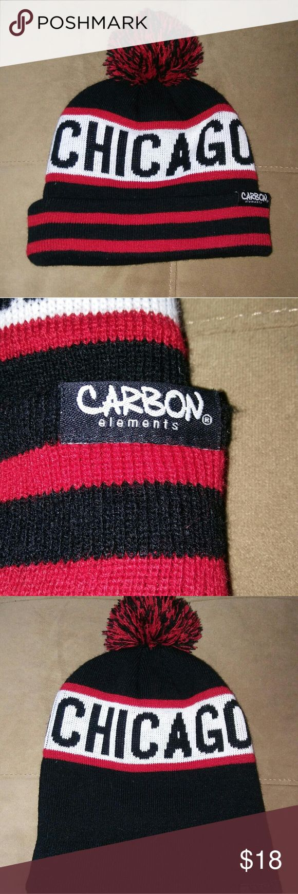 Carbon elements chicago beanie nwots Nwots Chicago Windy City Pom Winter Hat  Beanie Cap by carbon. Color is red, white and back. Excellent condition, one size. carbon elements Accessories Hats