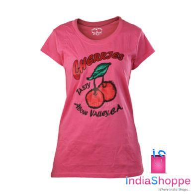 Strawberry T-Shirts for Women - Cherries - Hot Pink @ Indiashoppe http://goo.gl/xhIAUZ