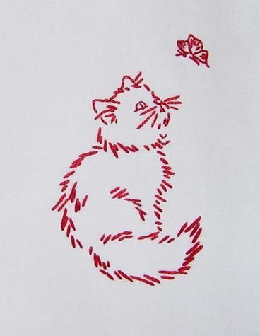 KITTY SPIES A BUTTERFLY - Hand embroidered redwork, via Flickr.