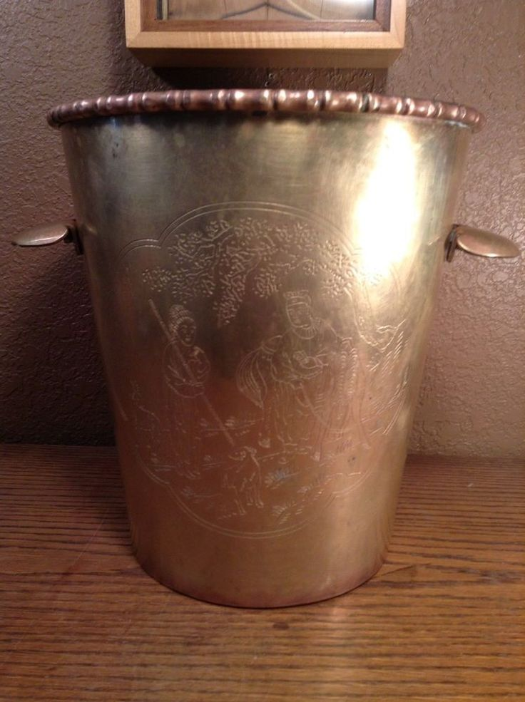 Vintage Brass Hollywood Regency Waste Basket Asian Theme #HollywoodRegency