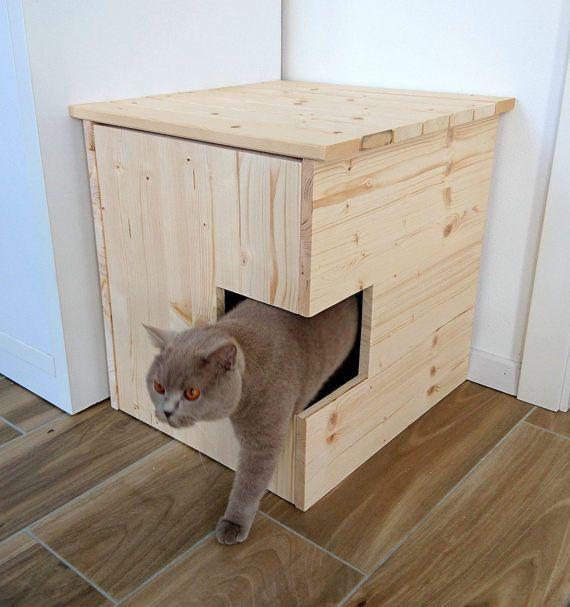 Corner Litter Box Cover Pet House Cat Litter Box by PinkBau