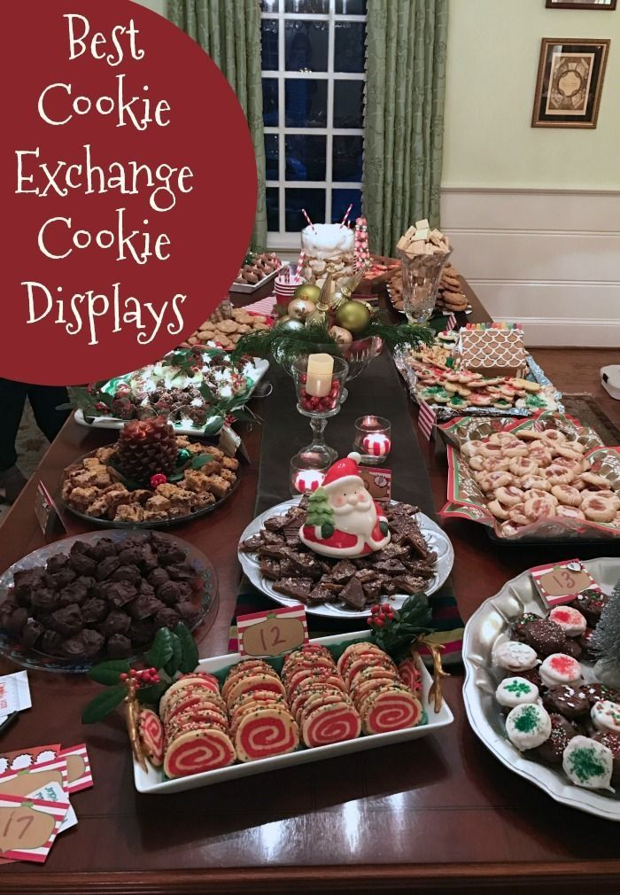 Best Cookie Exchange Cookie Displays Here Are Some Amazing Ways To Display Yo Christmas Cookie Party Holiday Cookie Party Christmas Cookie Exchange Party Ideas