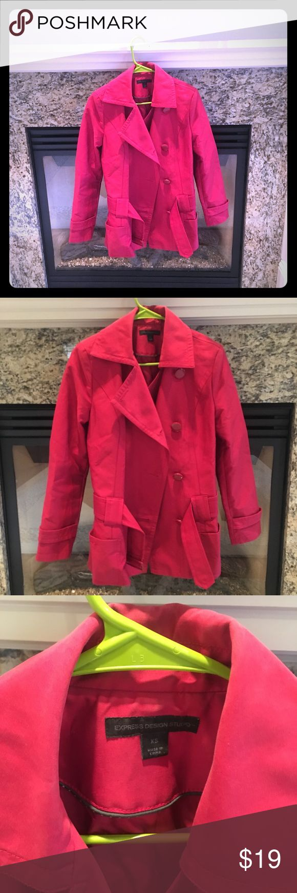 Peacoat trench ruby red/pink express jacket Stylish express jacket with belt. A ruby red combined with pink color. Very pretty. In good condition. Signs of wear on collar (make up marks) but can be removed  y a dry cleaner. Hits at the hips. All buttons intact. Lightweight but warm. Perfect for fall. Size extra small. Reasonable offers welcome. 😊 Express Jackets & Coats