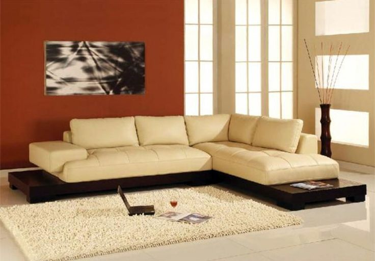 Manhattan Sectional Sofa in Beige Leather by Creative Furniture