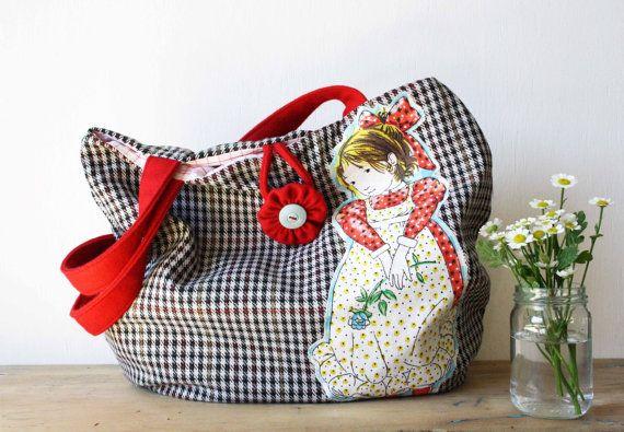 Holly Hobbie Vintage Tote Market Bag by ObeliaDesign on Etsy, $67.50