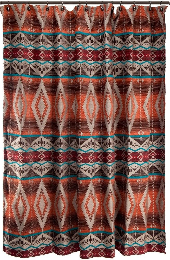 Mojave Sunset Southwestern Fabric Shower Curtain by carsten's inc captivating tones of red, orange, turquoise and tan with a pattern of clean, crisp lines by carsten's home