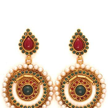 Marron, Green and Golden Color Polki Studded Earring