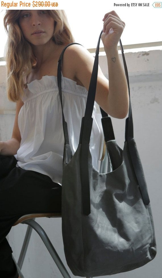 Dark grey leather bag Soft leather bag Cross by LadyBirdesign
