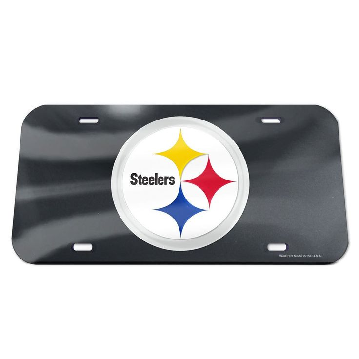 Pittsburgh Steelers License Plate - Crystal Mirror - Logo - Black