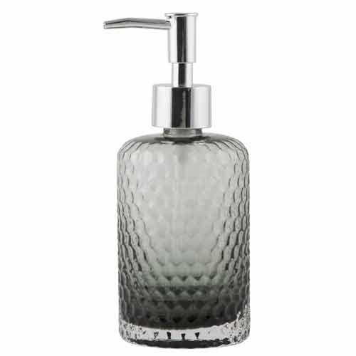Distributeur à savon liquide en verre martelé gris