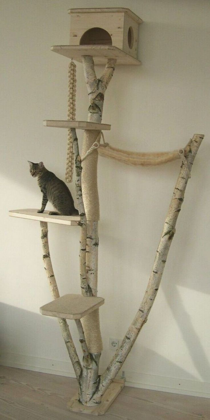 Once torres para gatos que puedes hacer en casa   Consumer Small Cat Tree, Diy Cat Tree, Cat Tree House, Cat House Diy, Outdoor Cat Tree, Cat Tree Designs, Cat Towers, Cat Playground, Photo Chat