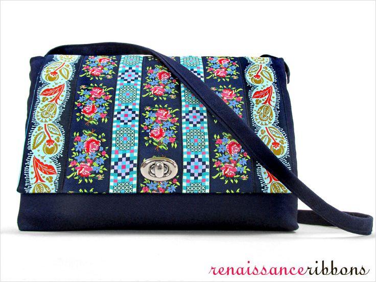 Ribbon Flap Shoulder Bag with Renaissance Ribbons | Sew4Home